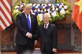 Tổng Bí thư, Chủ tịch nước Nguyễn Phú Trọng hội đàm, Thủ tướng Nguyễn Xuân Phúc hội kiến Tổng thống Hoa Kỳ Donald Trump