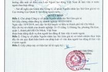 Công ty Cổ phần nhân lực Sài Gòn giá trị được cấp Giấy phép hoạt động dịch vụ đưa người lao động đi làm việc ở nước ngoài