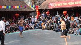 Ngày Tết rộn rã trống hội vật làng Mai Động