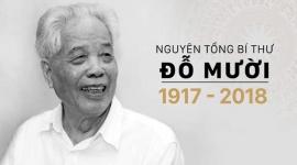 Tổ chức Quốc tang Nguyên Tổng Bí thư Đỗ Mười trong 2 ngày 6 và 07/10/2018