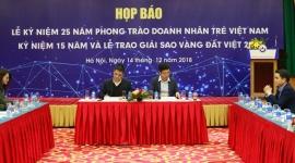 Hội Doanh nhân trẻ Việt Nam sắp kỷ niệm 15 năm và trao giải thưởng Sao Vàng Đất Việt 2018