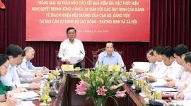 Đồng chí Trần Cẩm Tú làm việc với Ban cán sự Đảng Bộ Lao động - Thương binh và Xã hội