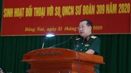 Tư lệnh Quân đoàn 4 đối thoại với sĩ quan, quân nhân chuyên nghiệp Sư đoàn 309
