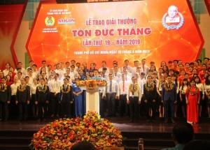 10 kỹ sư, công nhân được trao Giải thưởng Tôn Đức Thắng năm 2019
