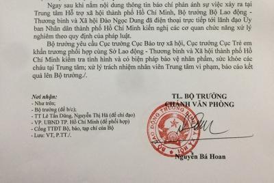 Bộ trưởng Đào Ngọc Dung yêu cầu xử nghiêm vụ cán bộ Trung tâm Hỗ trợ xã hội bị tố dâm ô