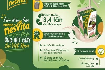 Sữa Nestlé Nesvita 5 loại đậu tiên phong sử dụng ống hút giấy bảo vệ môi trường