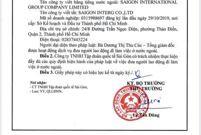 Công ty TNHH Tập đoàn Quốc tế Sài Gòn được phép đưa người lao động đi làm việc ở nước ngoài